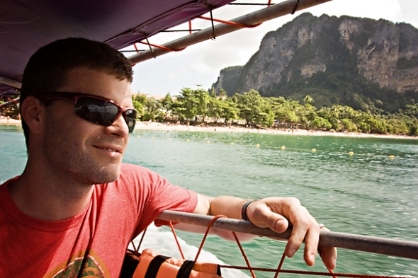 Dan cruising in the long boat.